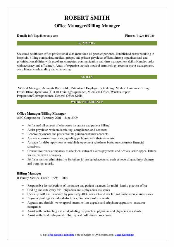 Office Manager/Billing Manager Resume Format