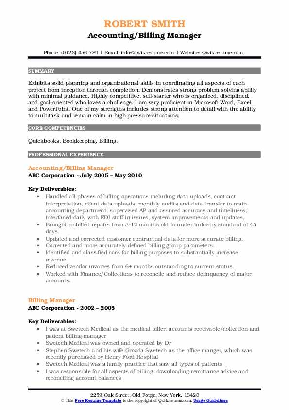 Accounting/Billing Manager Resume Template