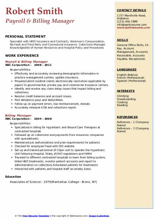 Payroll & Billing Manager Resume Format