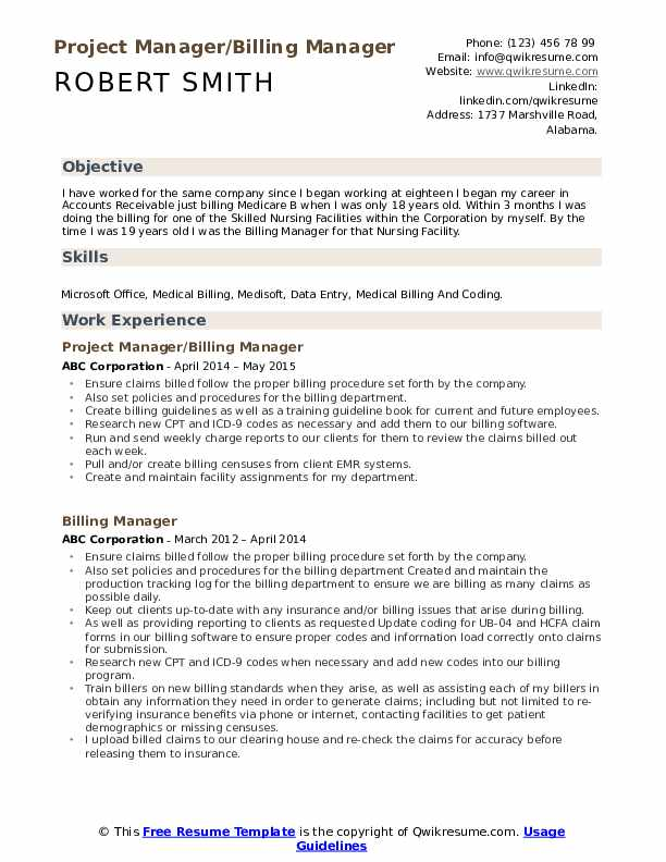 Project Manager/Billing Manager Resume Sample