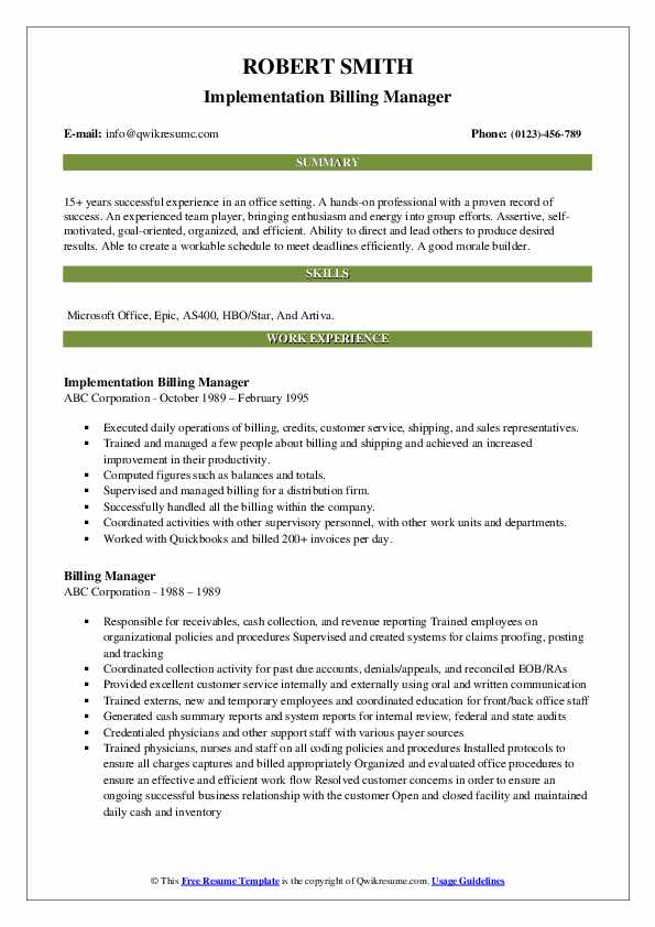 Implementation Billing Manager Resume Sample
