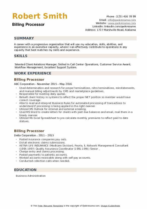 Billing Processor Resume example