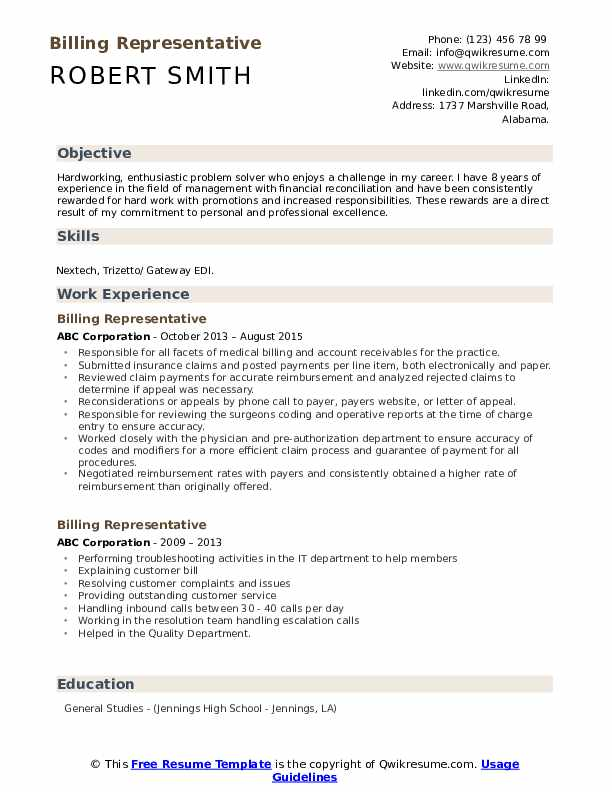 Billing Representative Resume Sample