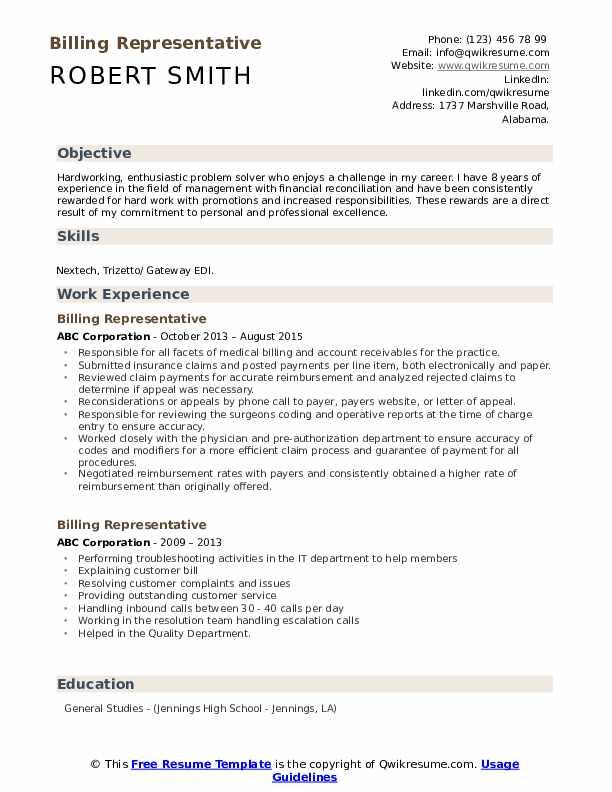 Billing Representative Resume Model