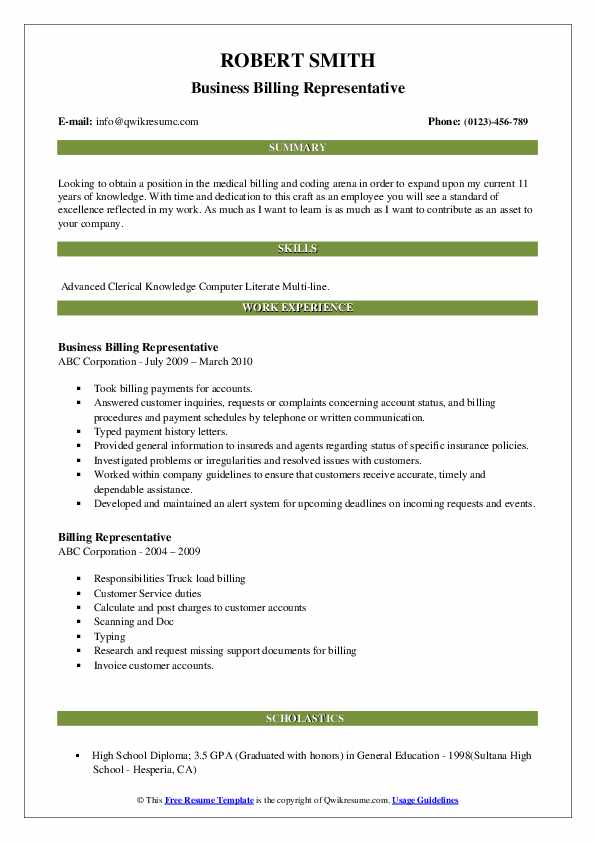 Business Billing Representative Resume Sample