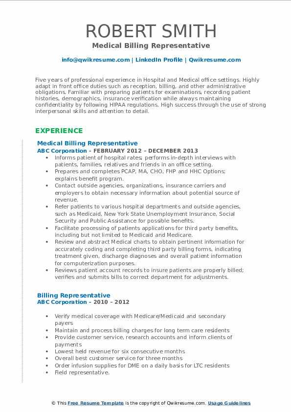 Medical Billing Representative Resume Sample