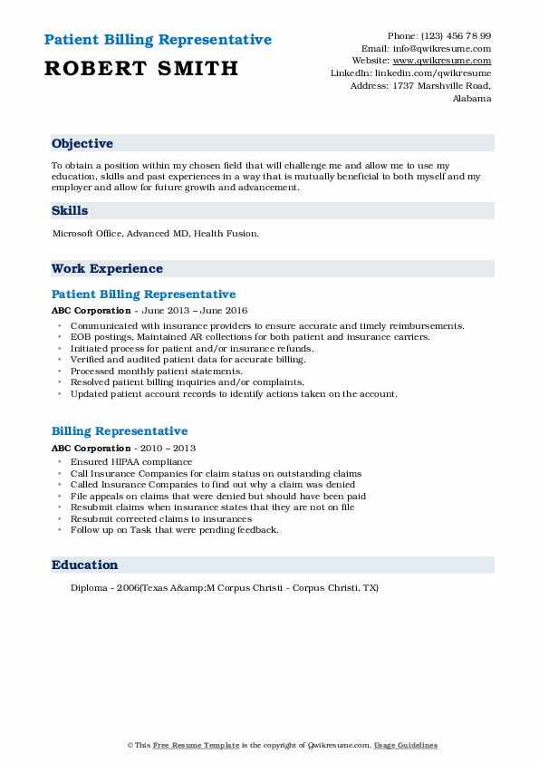 Patient Billing Representative Resume Sample