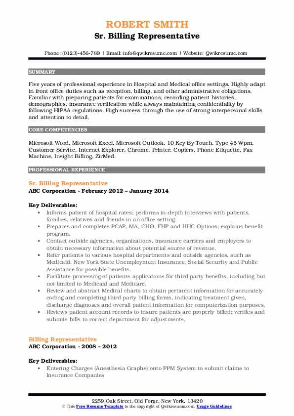Sr. Billing Representative Resume Format