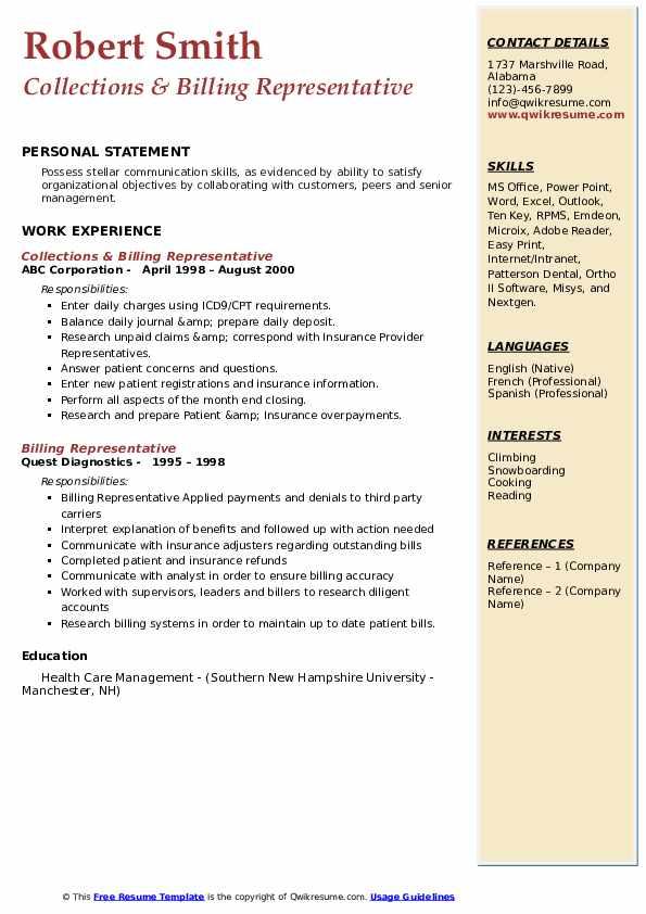 Collections & Billing Representative Resume Model