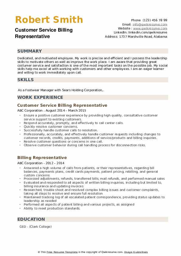 Customer Service Billing Representative Resume Format