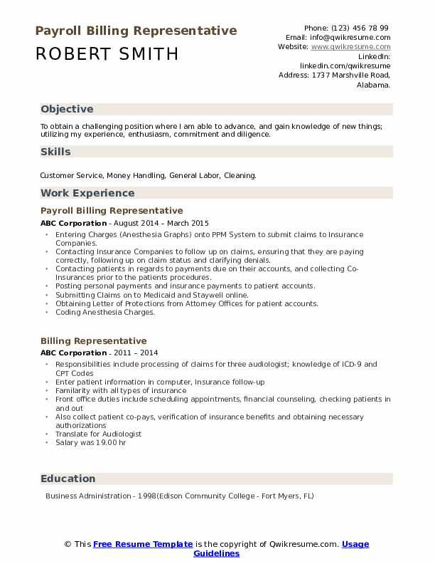 Payroll Billing Representative Resume Format