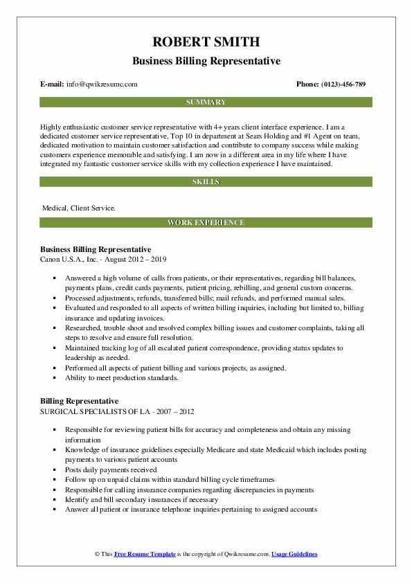 Business Billing Representative Resume Example