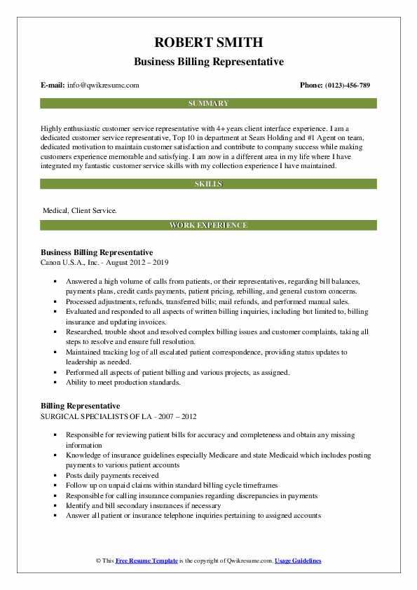 Business Billing Representative Resume Sample