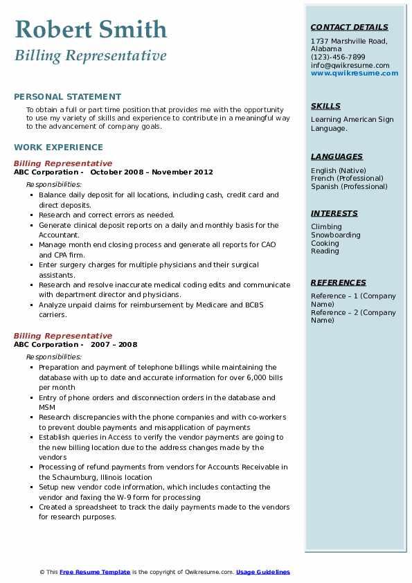 Billing Representative Resume example