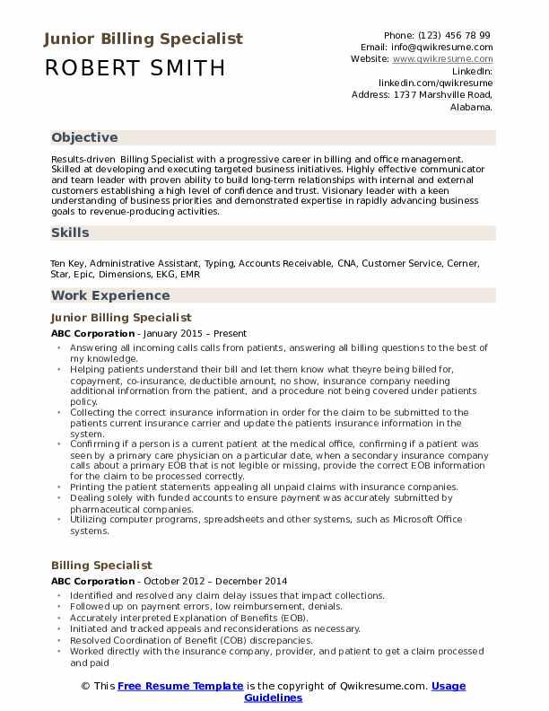 Junior Billing Specialist Resume Sample