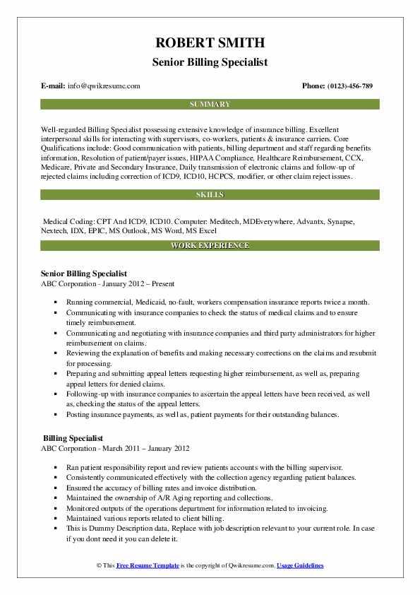 Senior Billing Specialist Resume Example