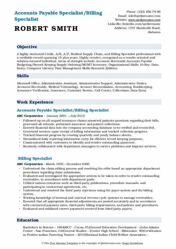 billing specialist resume samples