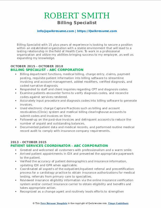 Billing Specialist Resume Example