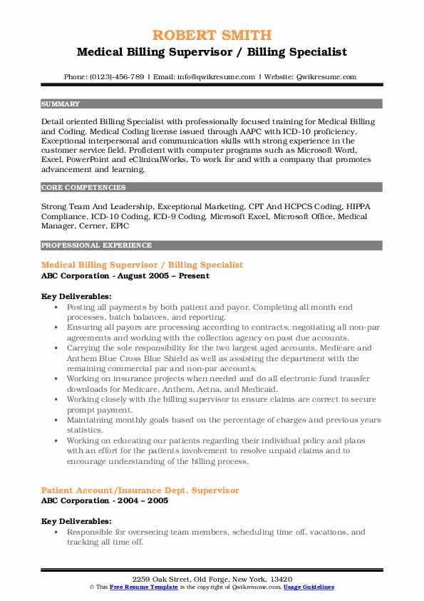 Medical Billing Supervisor / Billing Specialist Resume Sample