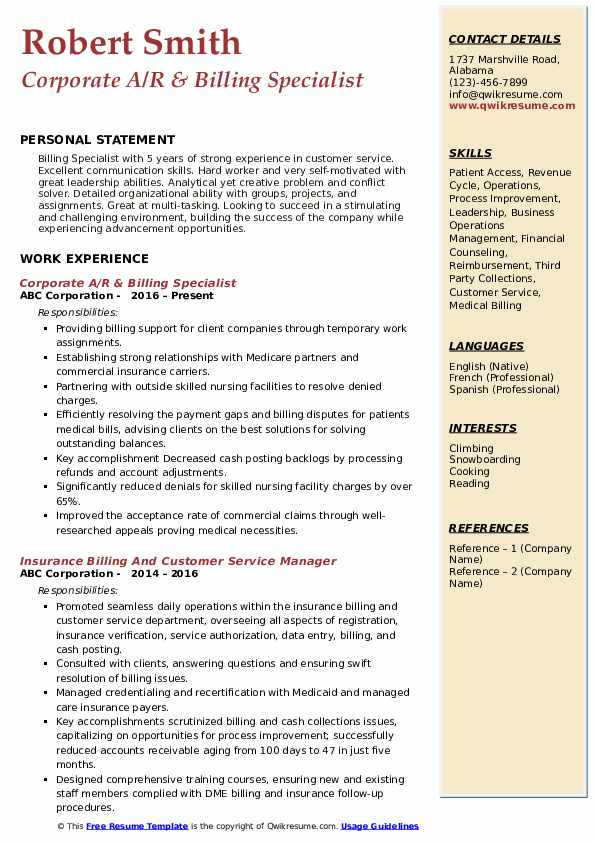 Corporate A/R & Billing Specialist Resume Model
