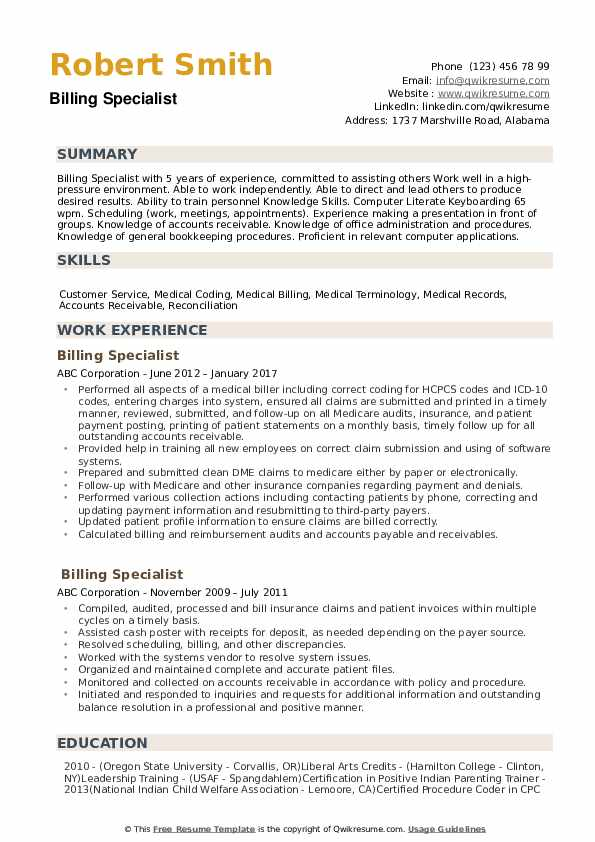 billing specialist resume samples