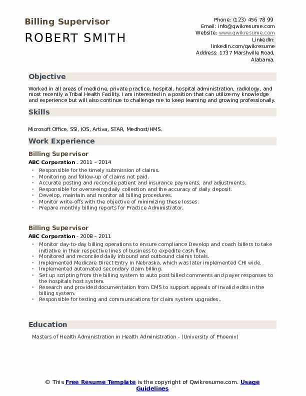 Billing Supervisor Resume Example