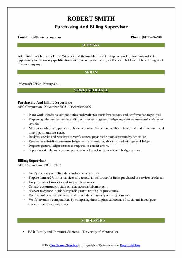 Purchasing And Billing Supervisor Resume Example