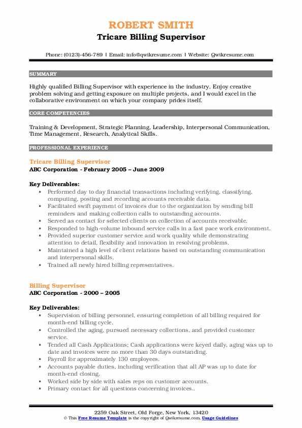 Tricare Billing Supervisor Resume Example