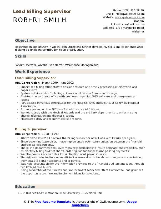Lead Billing Supervisor Resume Sample