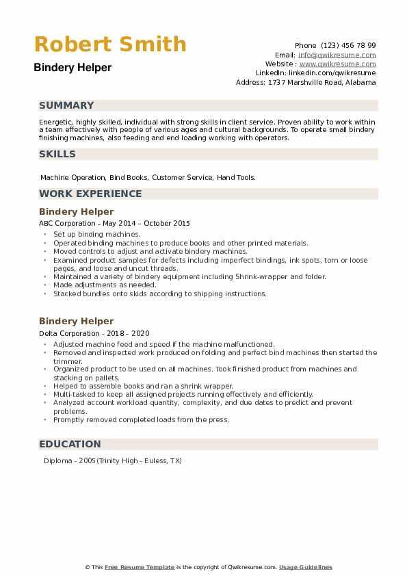 Bindery Helper Resume example