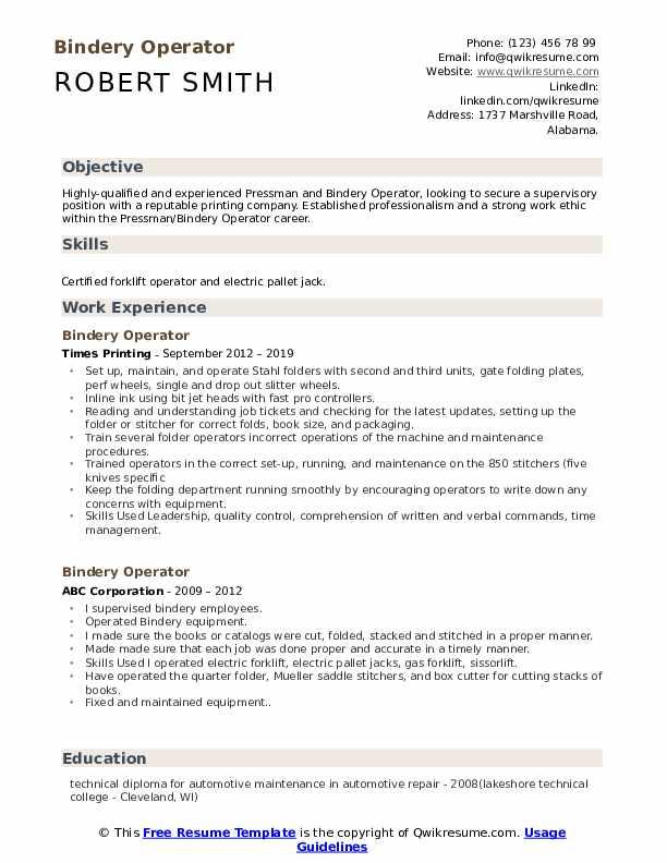 Bindery Operator Resume Sample