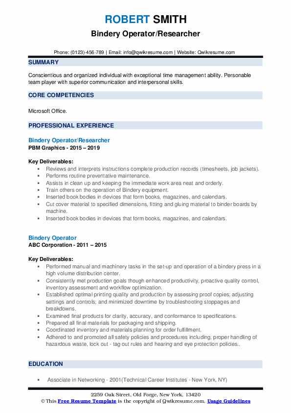 Bindery Operator/Researcher Resume Example