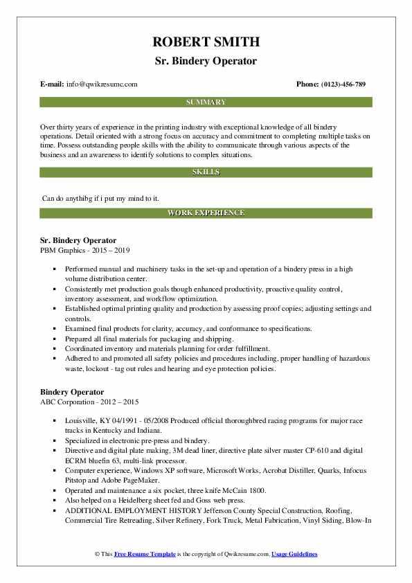 Sr. Bindery Operator Resume Example