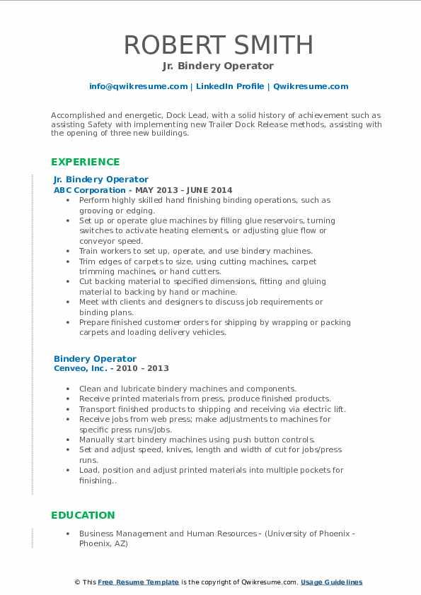 Jr. Bindery Operator Resume Example