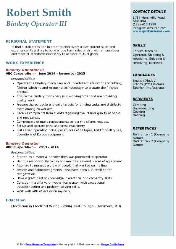 Bindery Operator III Resume Format