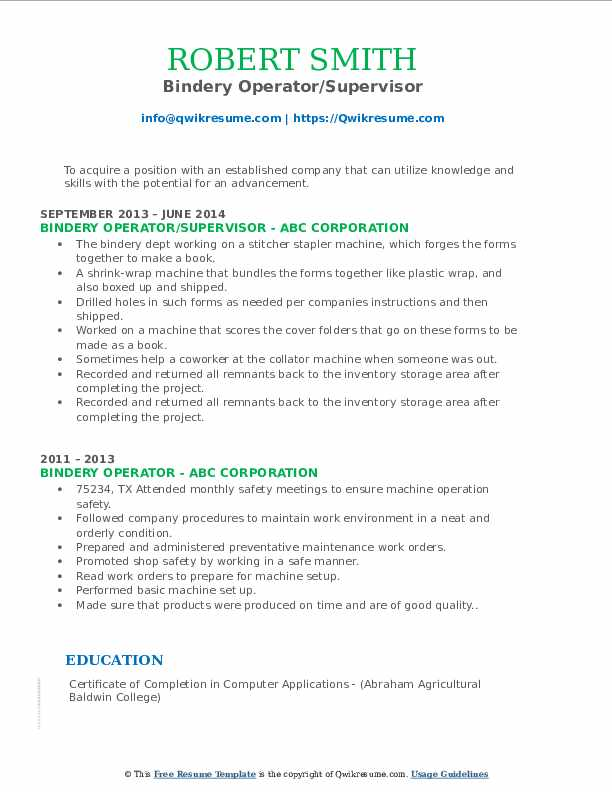 Bindery Operator/Supervisor Resume Template
