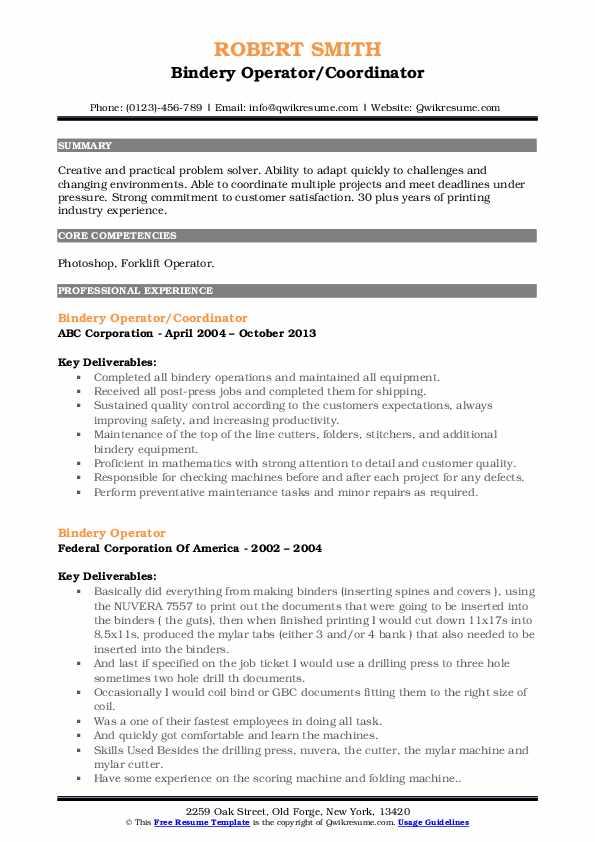 Bindery Operator/Coordinator Resume Sample