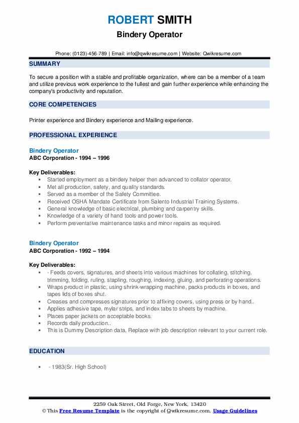 Bindery Operator Resume example