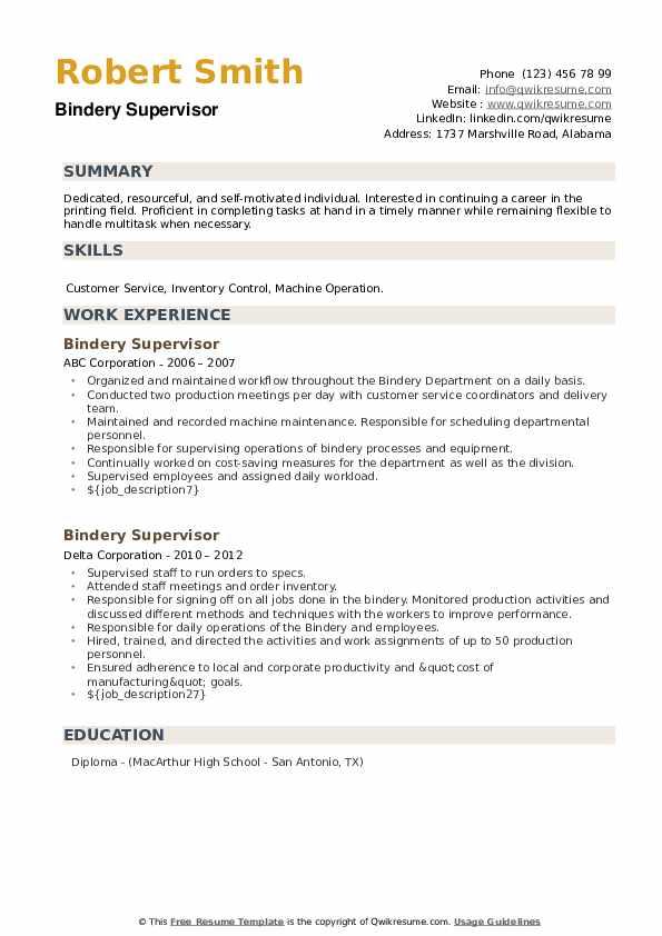 Bindery Supervisor Resume example