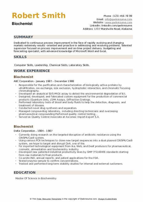 Biochemist Resume example