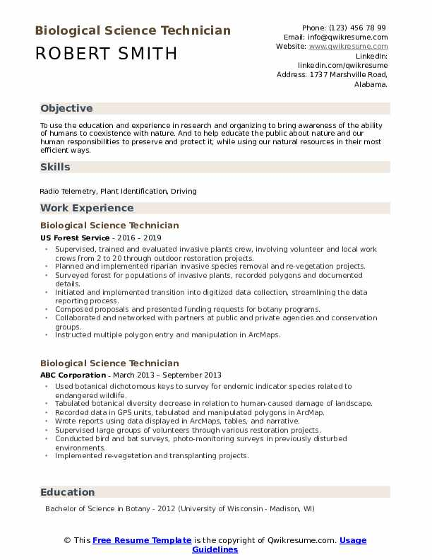 Biological Science Technician Resume example