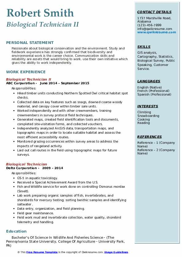 biological technician resume samples