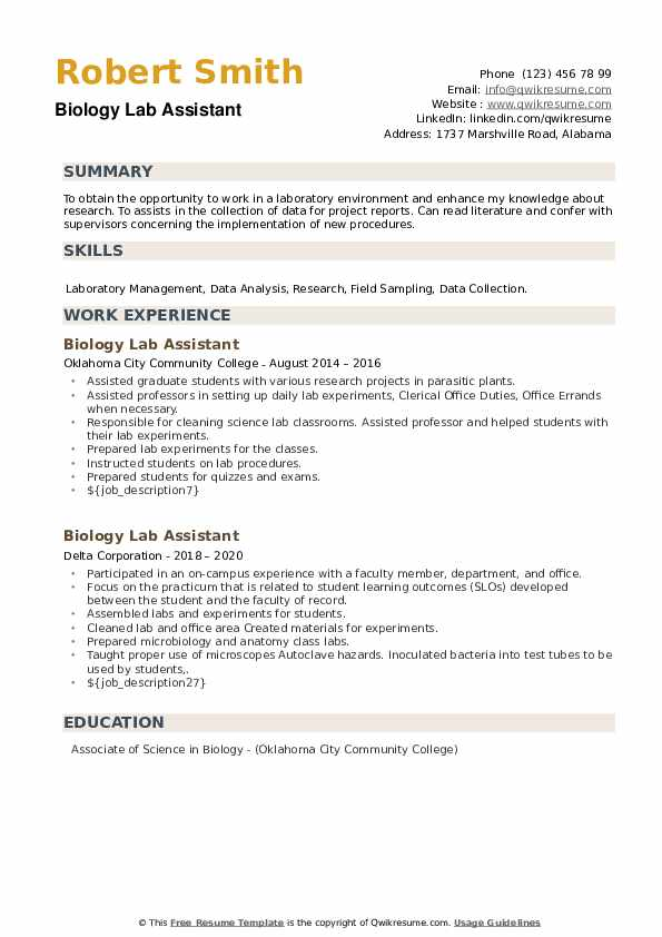 Biology Lab Assistant Resume example