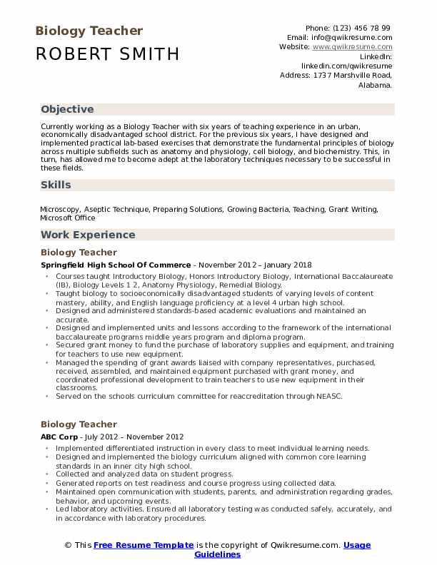 biology teacher resume samples