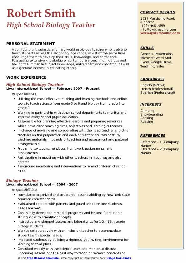 Biology Teacher Resume Samples | QwikResume