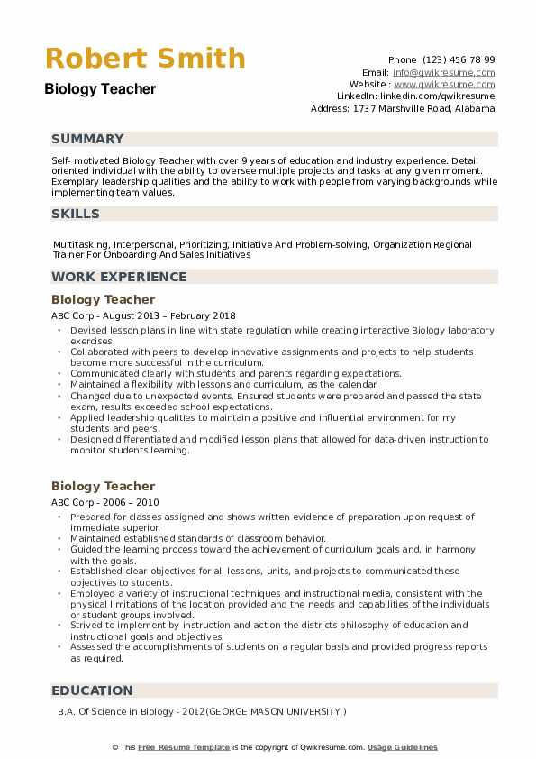 Biology Teacher Resume Samples | QwikResume