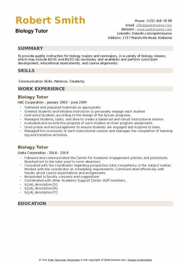 Biology Tutor Resume example