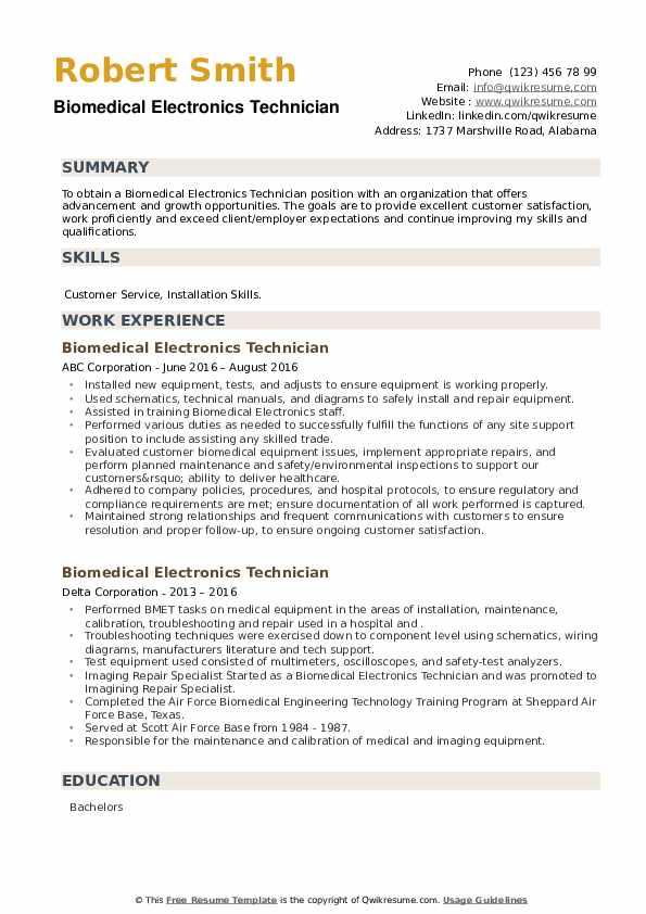Biomedical Electronics Technician Resume example