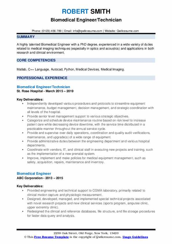 Biomedical Engineer/Technician Resume Format