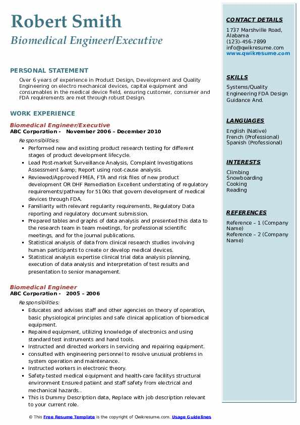 Biomedical Engineer Resume Samples Qwikresume